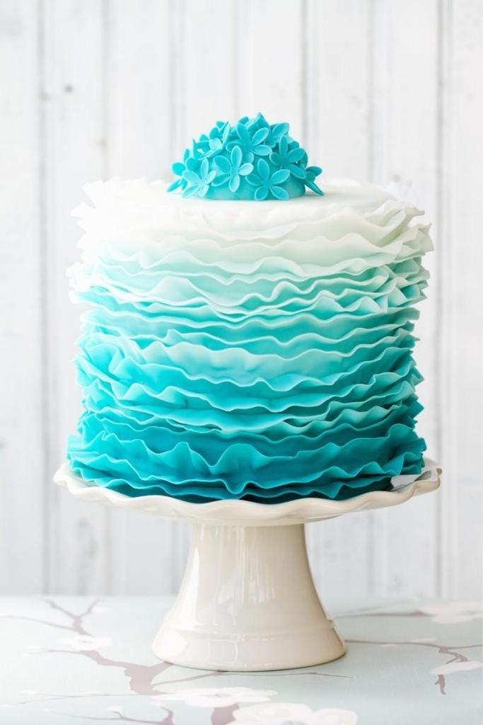 Blue Birthday Cakes - Ombre Ceake