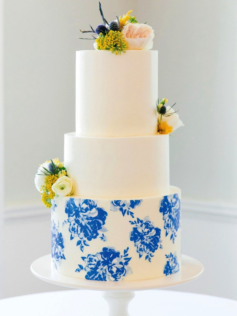 Blue & White Floral Wedding Cake photo by Dana Cubbage