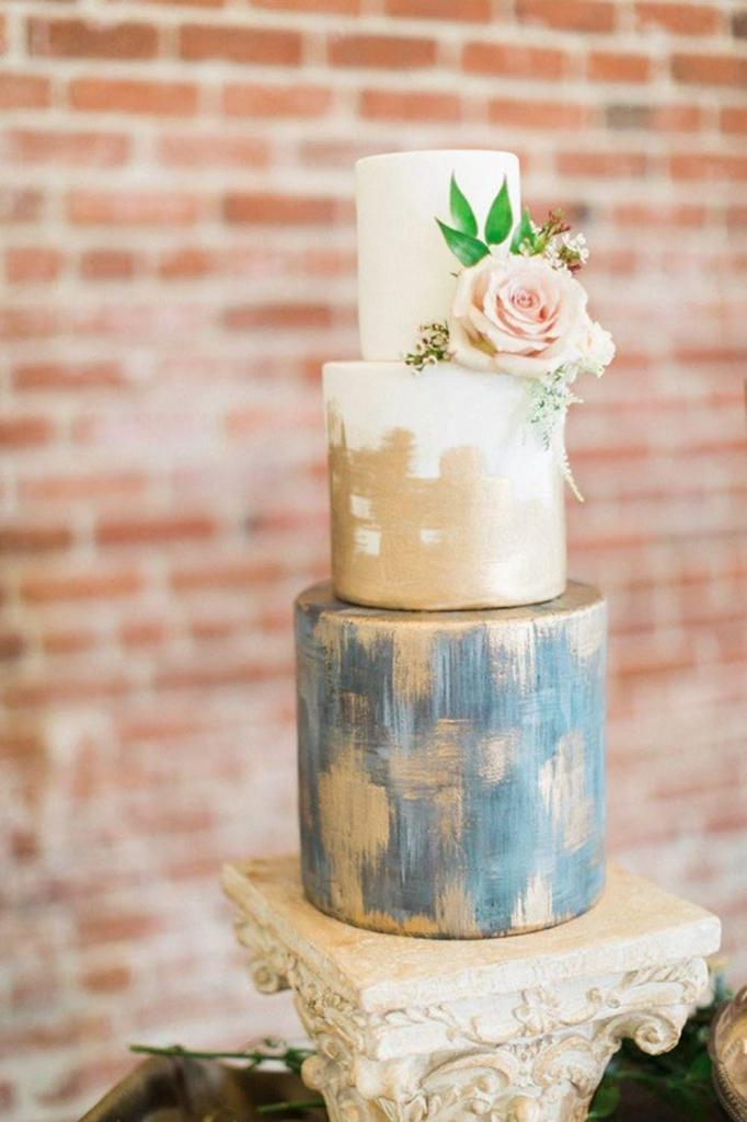 Blue, White, and Gold Modern Wedding Cake by Elise Cakes