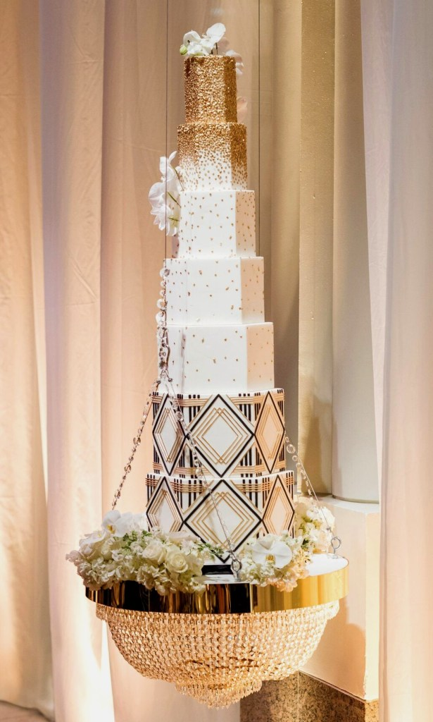 Crystal Chandelier Wedding Cake photo by Lisa Boggs