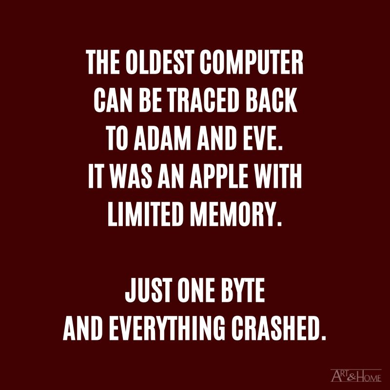 The oldest computer can be traced back to Adam and Eve. It was an Apple with limited memory. Just one byte and everything crashed.
