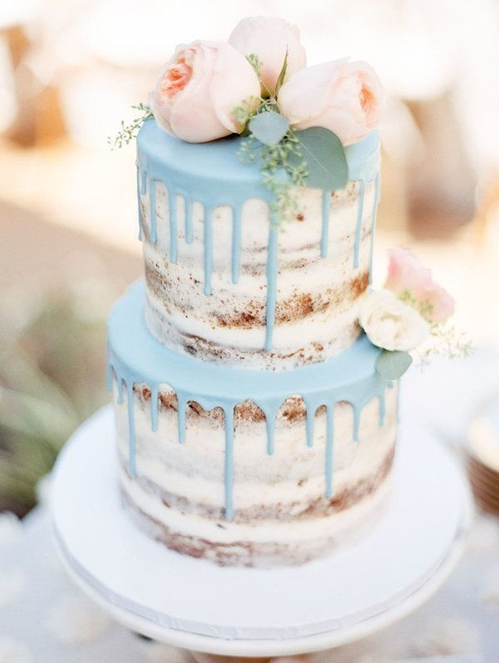 Dripping Blue Icing Wedding Cake by Sasselina Sweets