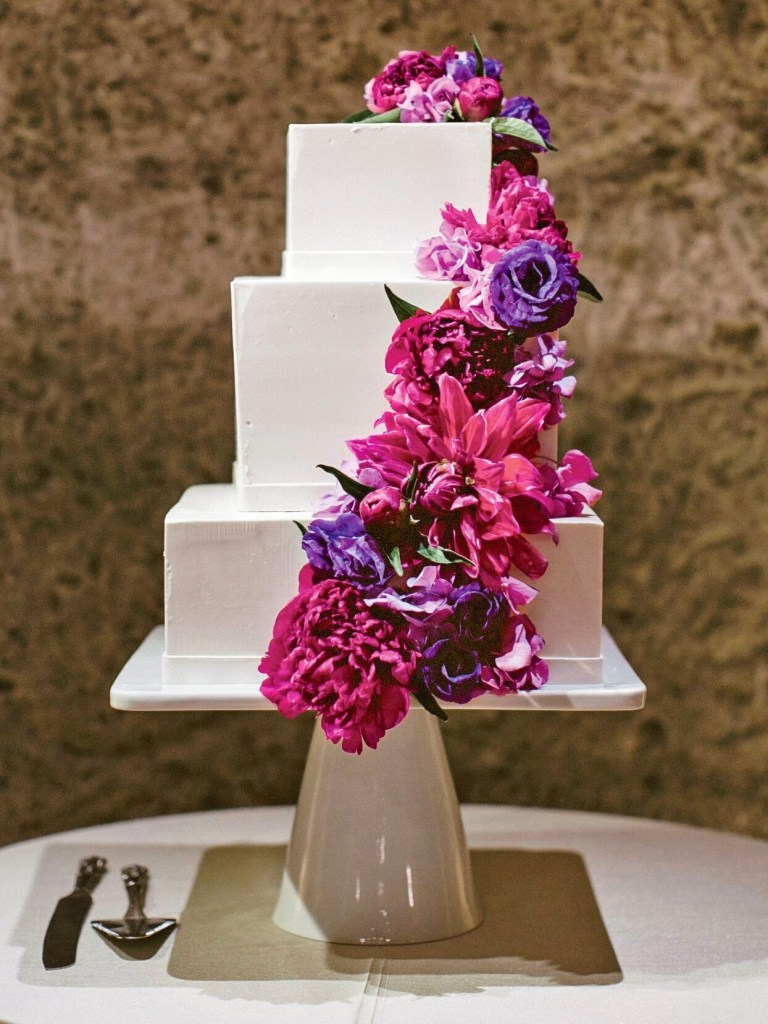 Fuchsia Cascade Square Wedding Cake photo by Jasmine Star Photography