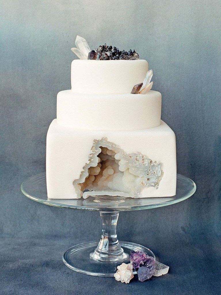 Geode Crystal Wedding Cake photo by Philip Ficks