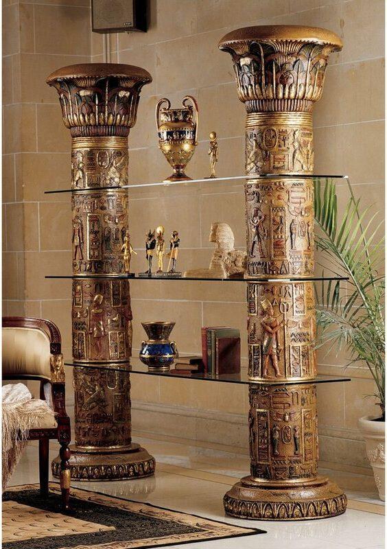 Gold Egyptian Etagere Bookcase