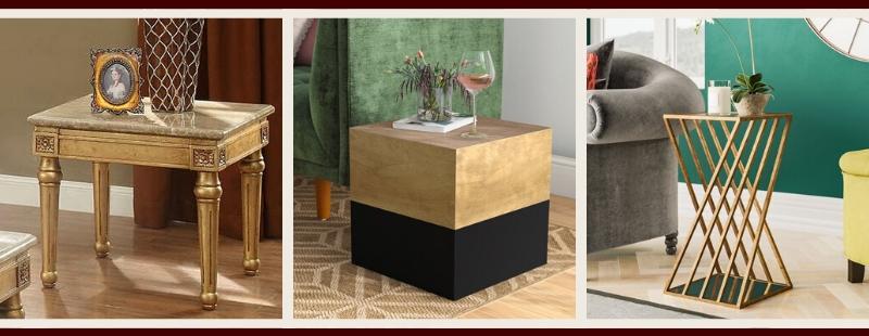 Gold Living Room Furniture | Gold End & Side Tables