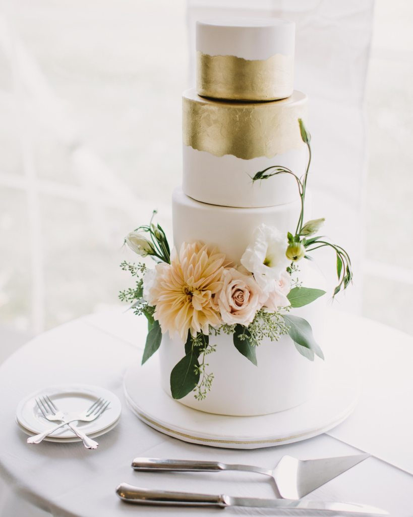 Gold Leaf and Flowers Wedding Cake by Sweet Heather Anne