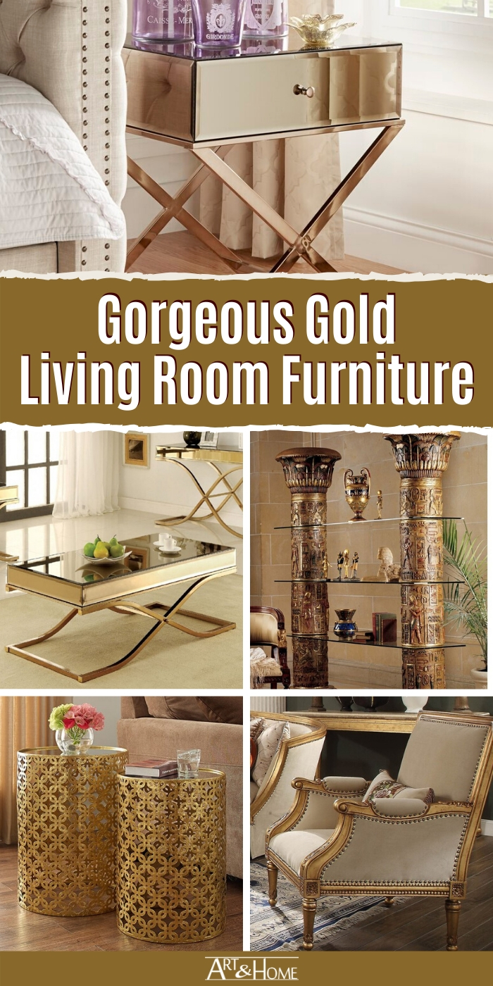 Gold living room furniture adds a sleek & sophisticated touch to your decor. From gold coffee tables to gold sofas & more, this collection is pure gold!