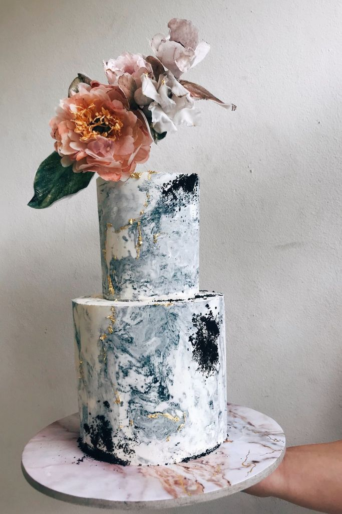 Marble Two-Tier Wedding Cake by Cupplets Bakery