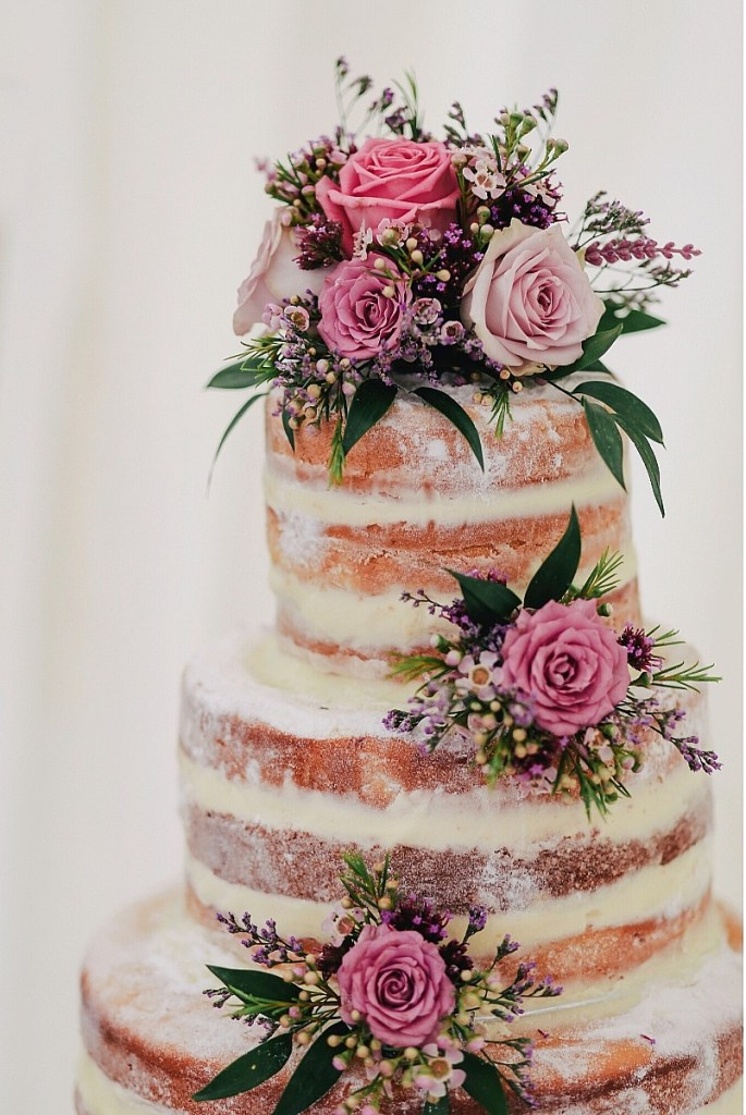 Mauve Roses Naked Wedding Cake