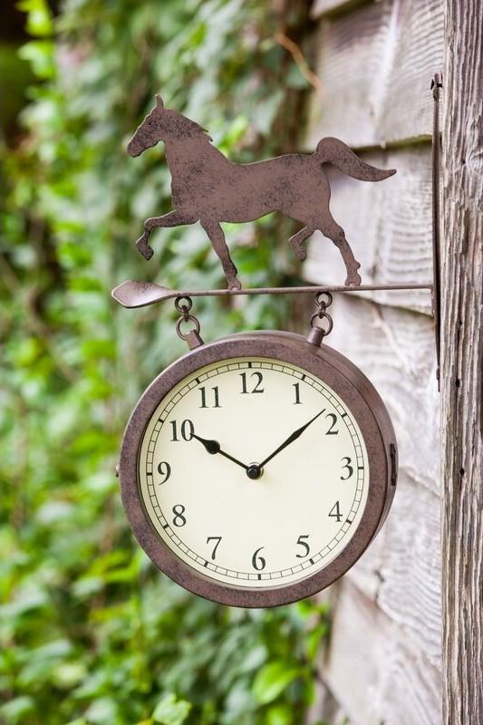 McKinley Horse Rustic Outdoor Wall Clock