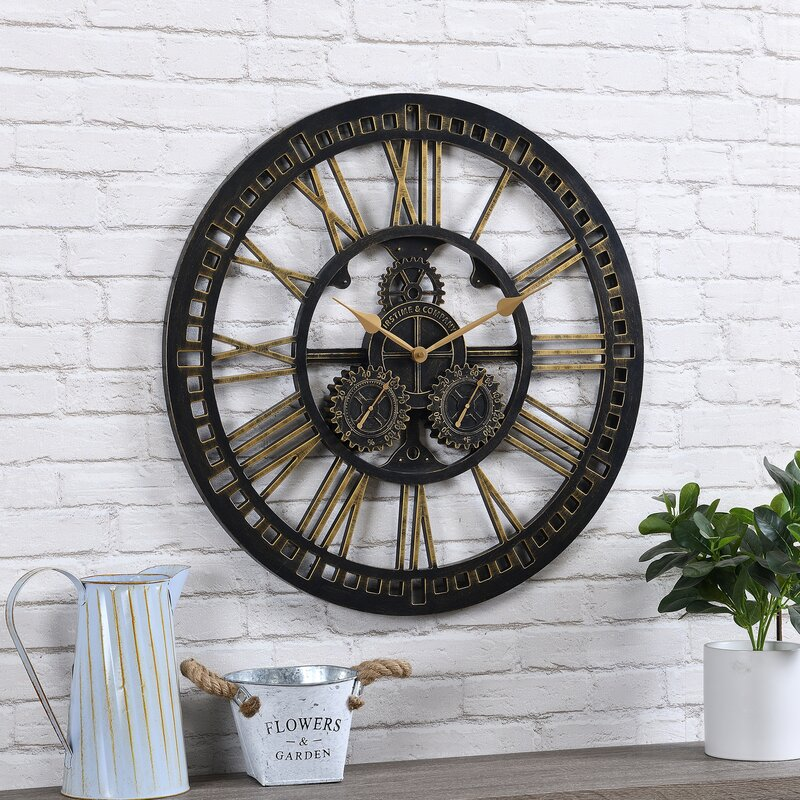 "Oversized Gilded Gears 24"" Outdoor Wall Clock"