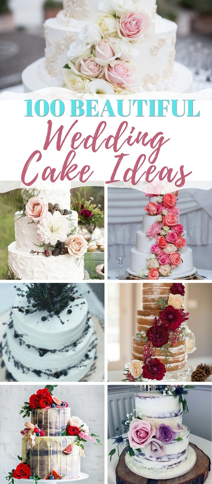Over 100 beautiful wedding cake ideas and inspiration.