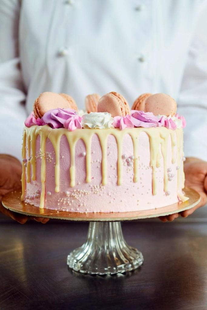 Pink Macaron Birthday Cake