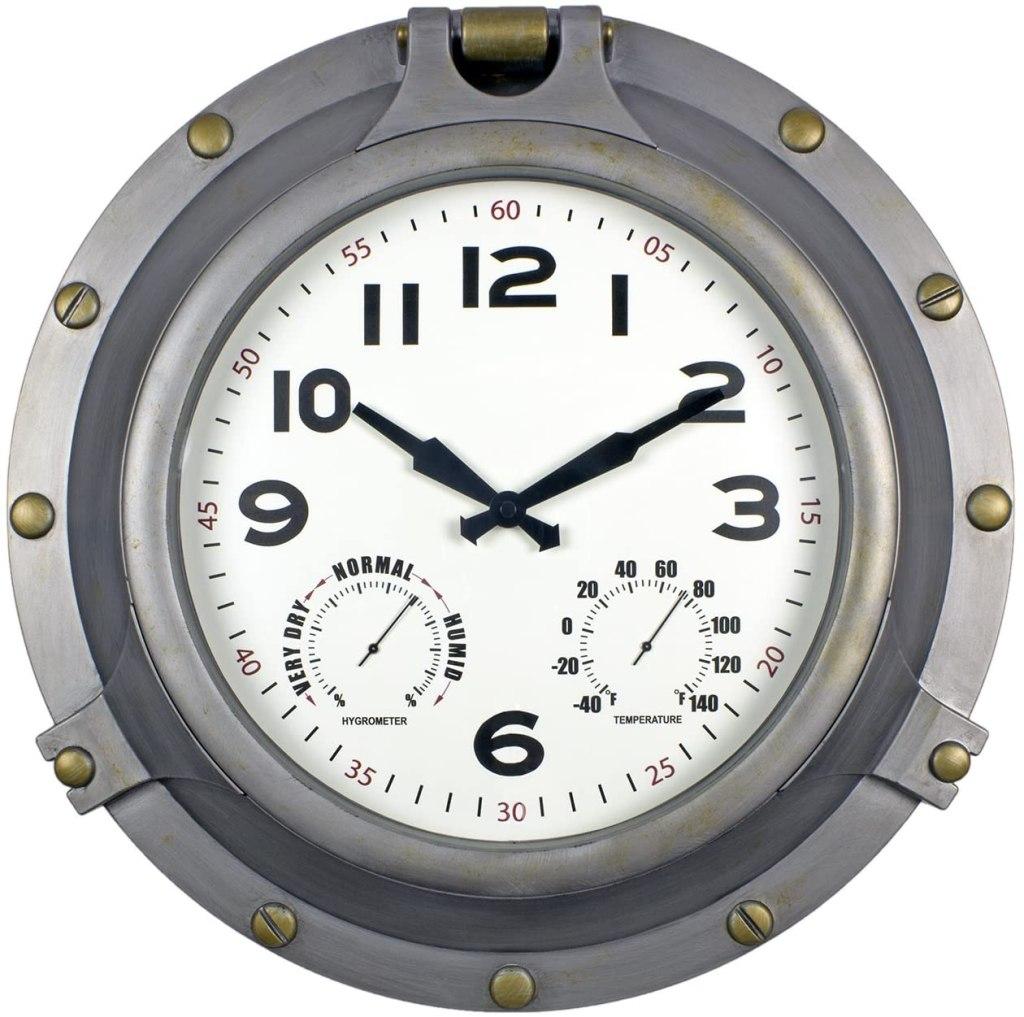 "Poolmaster 18"" Silver Porthole Clock"