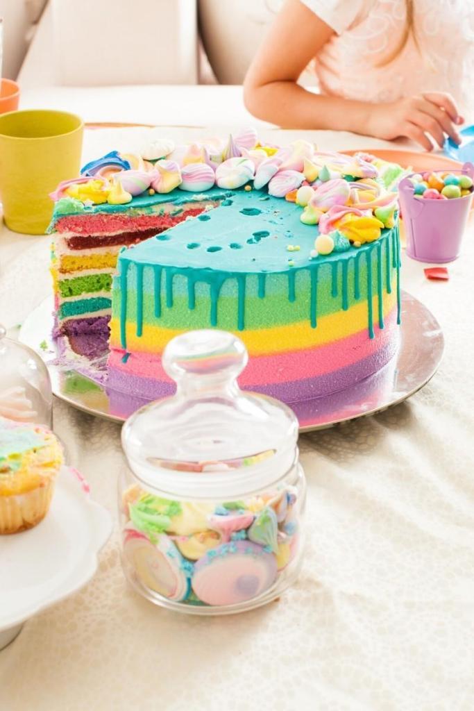 Rainbow Drip Birthday Cake