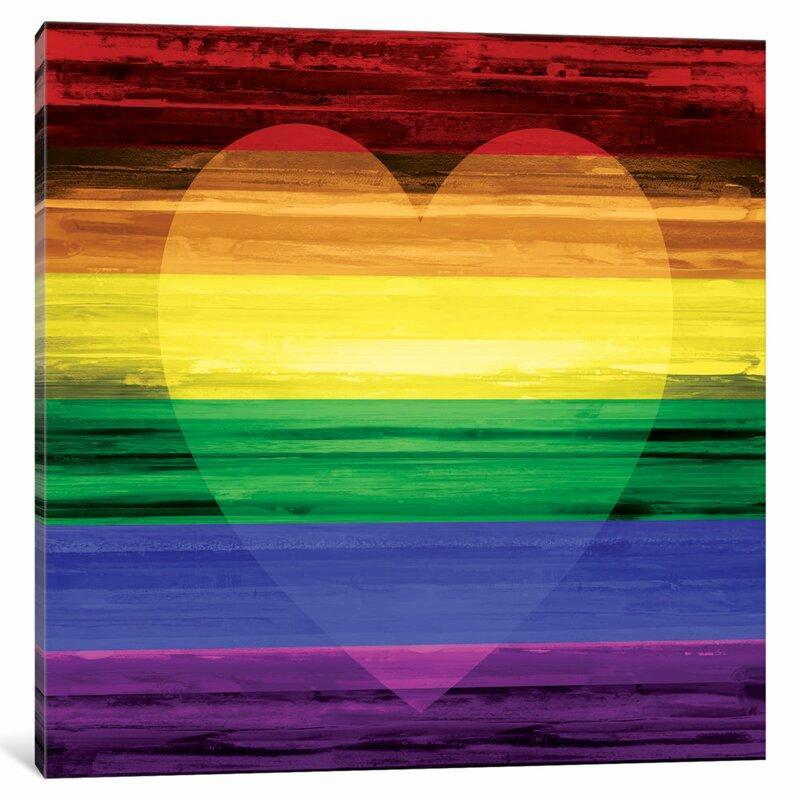 'Rainbow Heart' Pride Art Print on Canvas