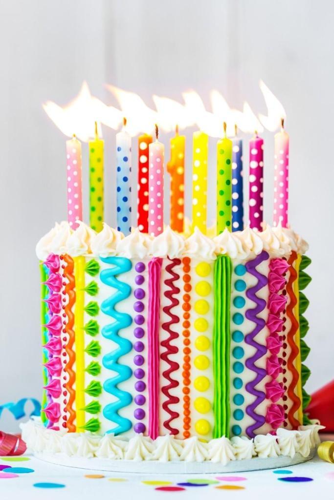 Rainbow Lines Birthday Cake