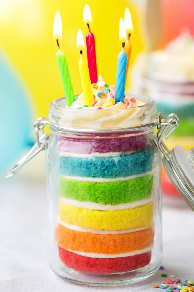 Rainbow Mason Jar Birthday Cake