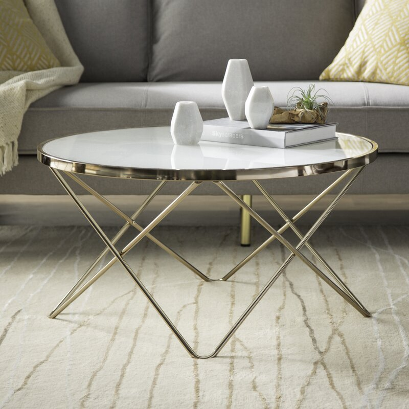 Rhiannon Mid-Century Modern Gold Coffee Table