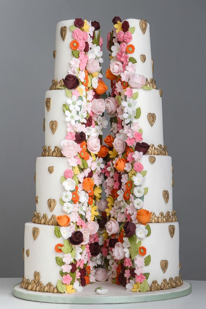 Split Open Floral Wedding Cake by Elizabeth's Cake Emporium