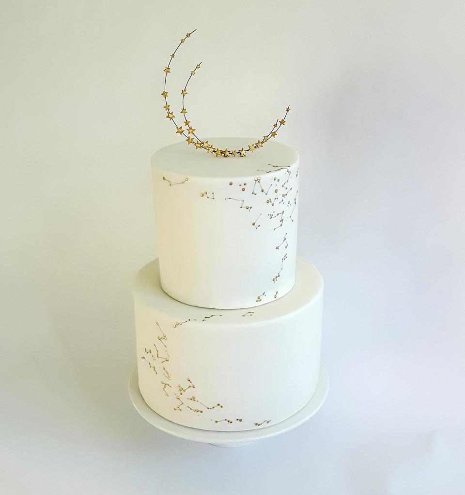 Stars and Moon Gold & White Wedding Cake by Claire Owen Cakes