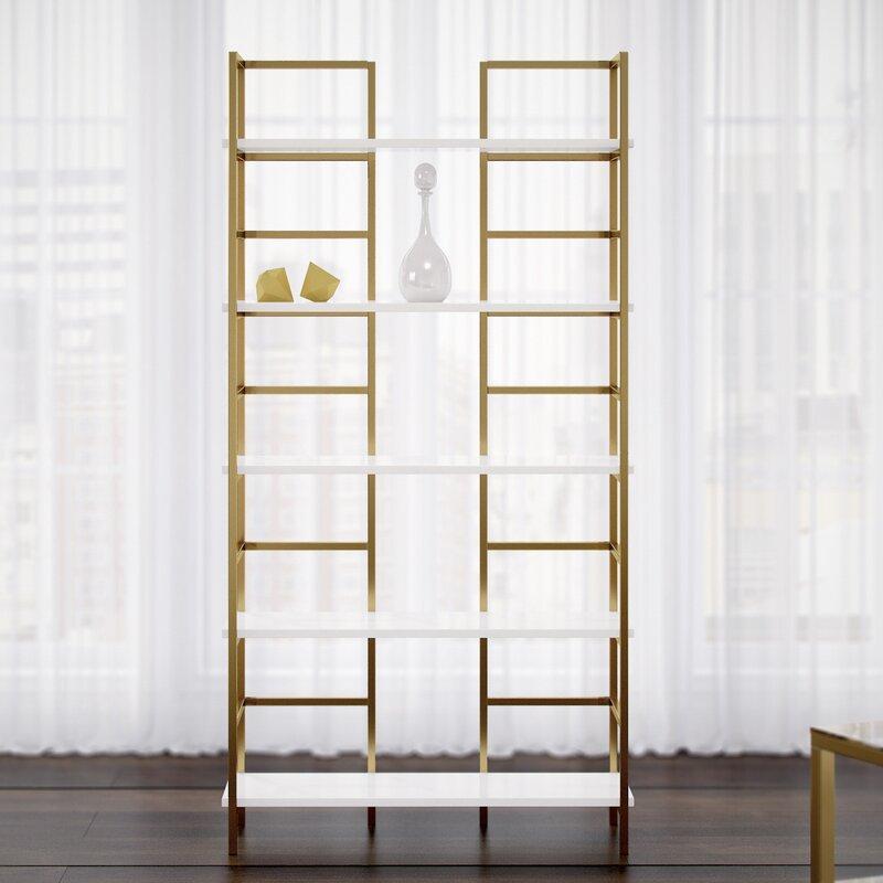 Tinley White & Gold Etagere Bookcase