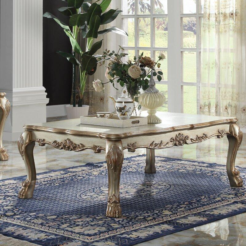 Welliver Solid Wood Gold Patina Coffee Table