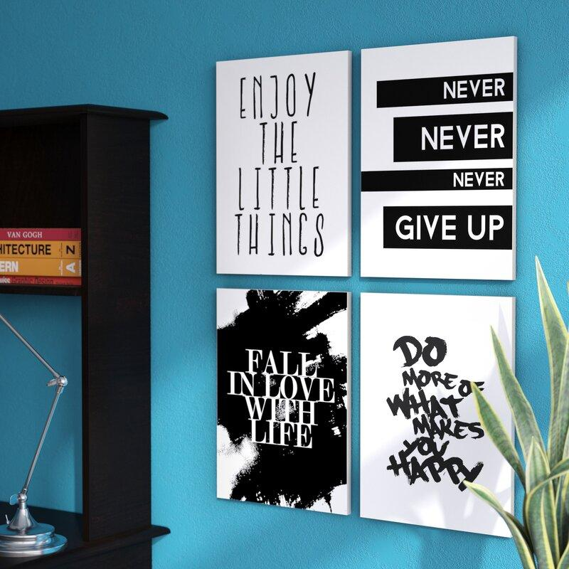 4 Piece Black & White Inspirational Sayings Art Set