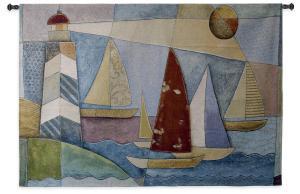 Bay Regatta   Nautical Tapestry   36 x 53
