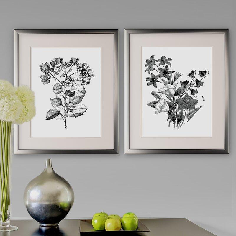Botanical Black and White 2-Piece Acrylic Print Set