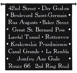 Citystreet | Black & White Textual Tapestry | 50 x 50