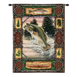 Fish Lodge Bass | Rustic Tapestry Wall Hanging | 33 x 26