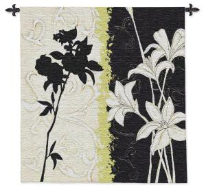 Floral Silhouette | Contemporary Floral Wall Tapestry | 44 x 42