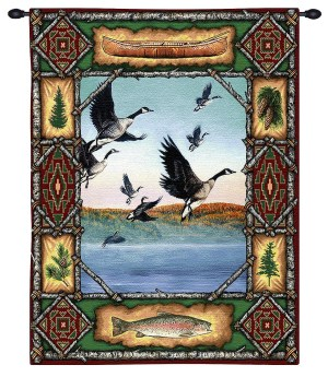 Geese Lodge | Rustic Tapestry Wall Hanging | 33 x 26