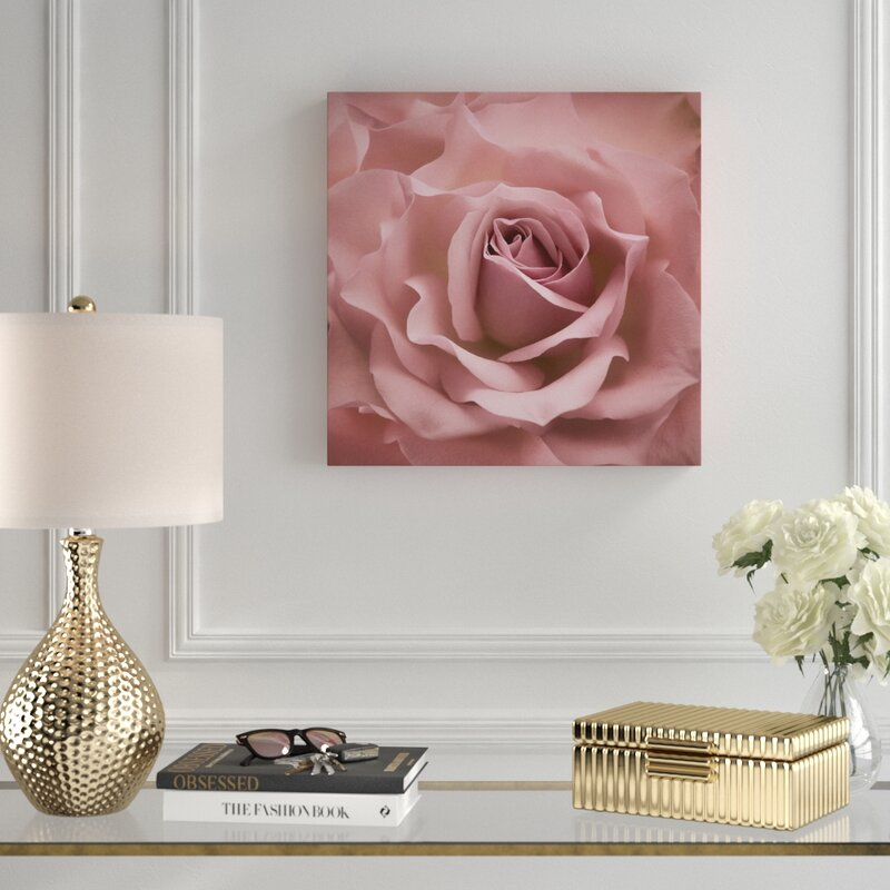Misty Pink Rose Photographic Print on Canvas