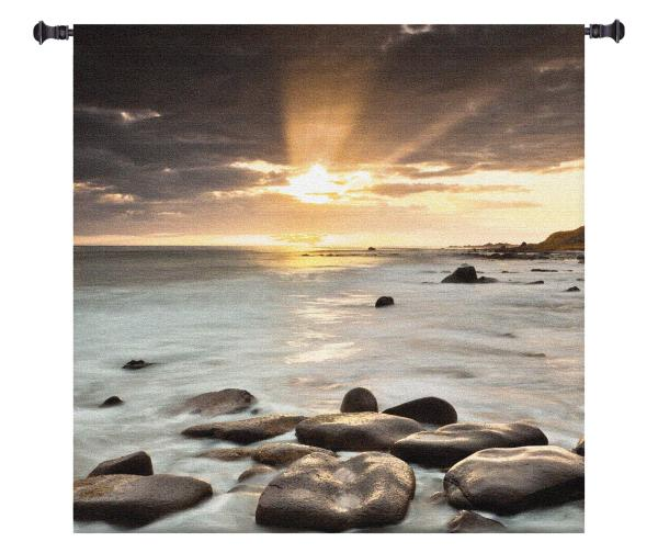 Nordic Sunset   Large Woven Art Tapestry   60 x 60