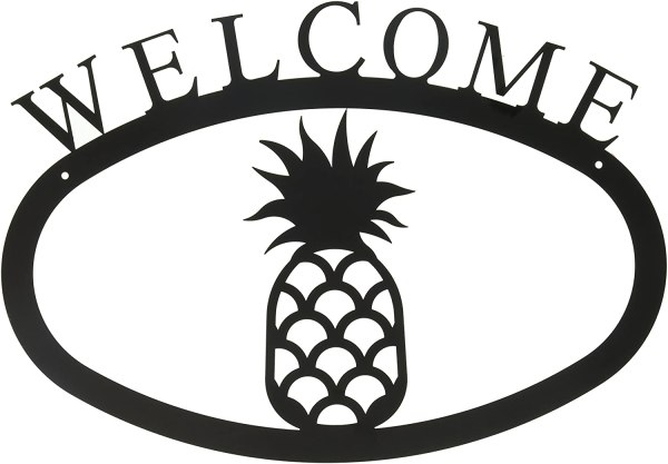 Pineapple Large Wrought Iron Welcome Sign