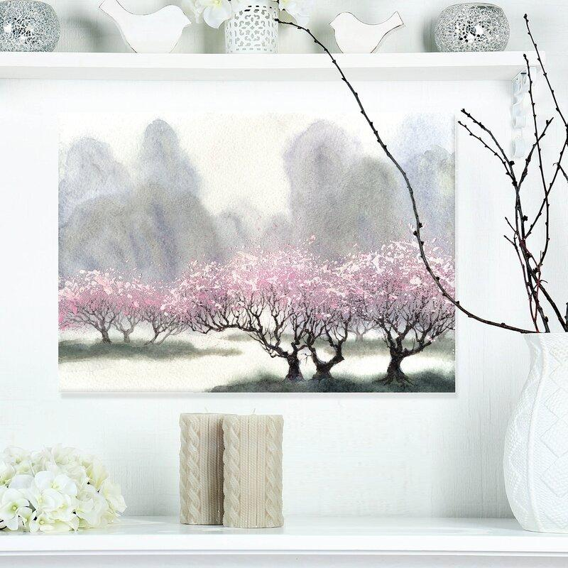 Pink Flowering Trees at Spring Landscape Painting