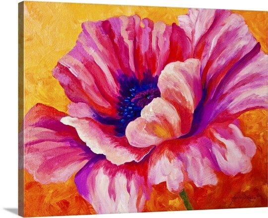 Pink Poppy Art on Canvas by Marion Rose