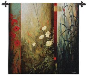Rainforest Poppies | Contemporary Floral Tapestry | 53 x 53