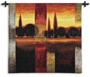 Reflections II   Contemporary Landscape Woven Tapestry   44 x 45