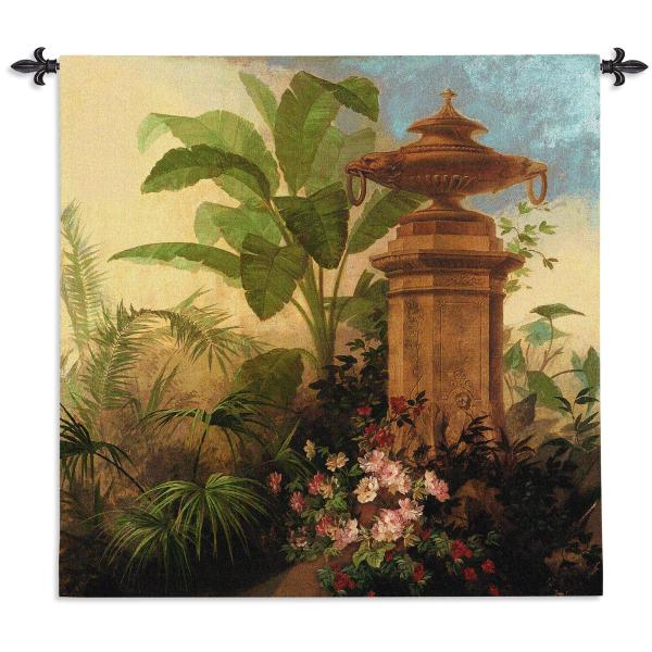 Tropic Fantasy II   Tropical Botanicals Woven Tapestry   54 x 54