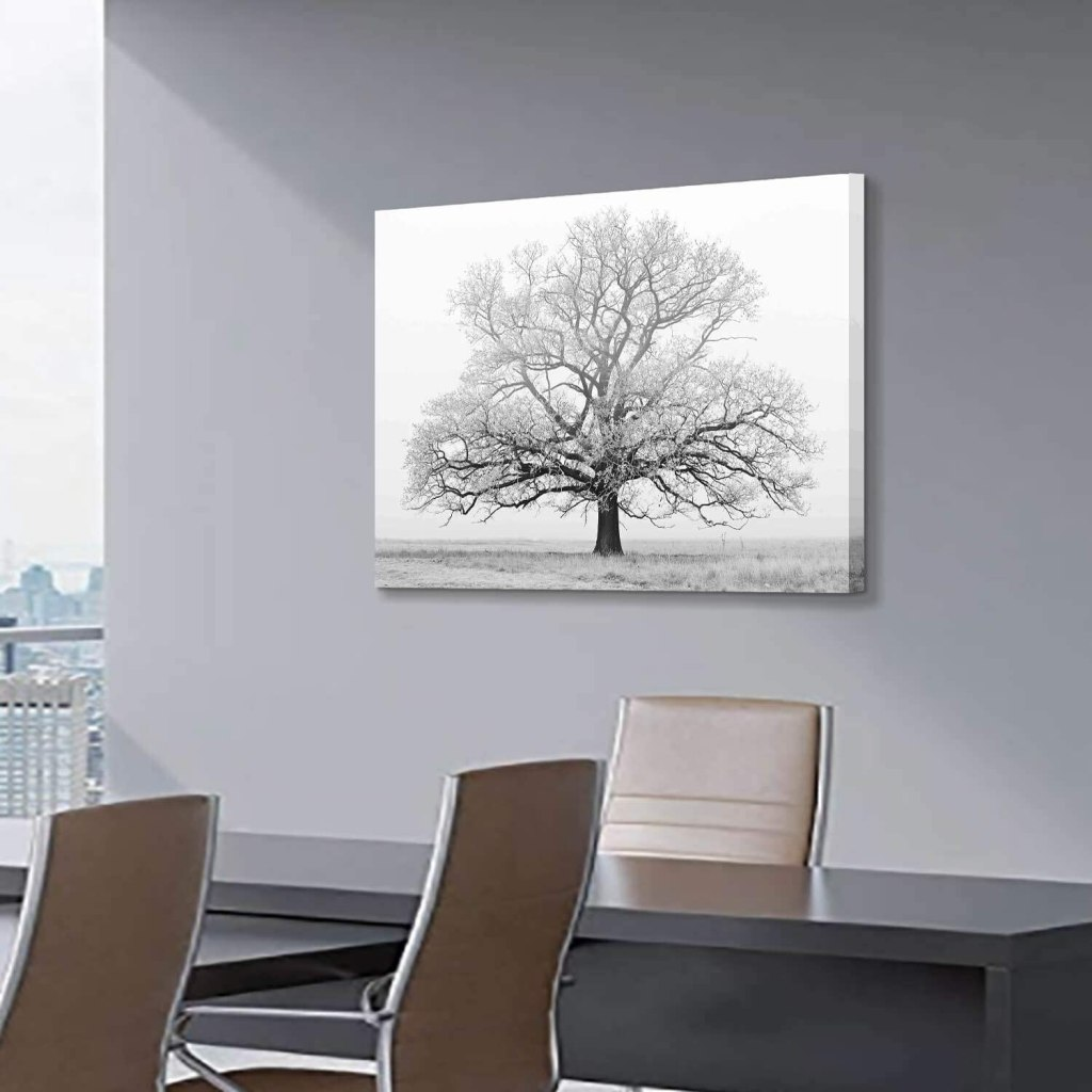 Winter Tree Black & White Canvas Art Print