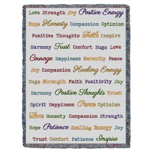 Word Hugs Inspirational Tapestry Throw Blanket Grey Multi