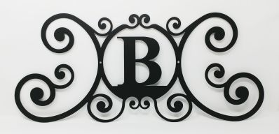 Wrought Iron Monogram Wall Plaque Letter B