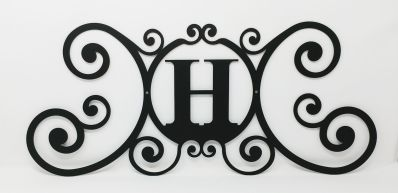 Wrought Iron Monogram Wall Plaque Letter H