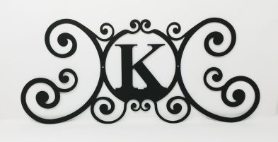 Wrought Iron Monogram Wall Plaque Letter K
