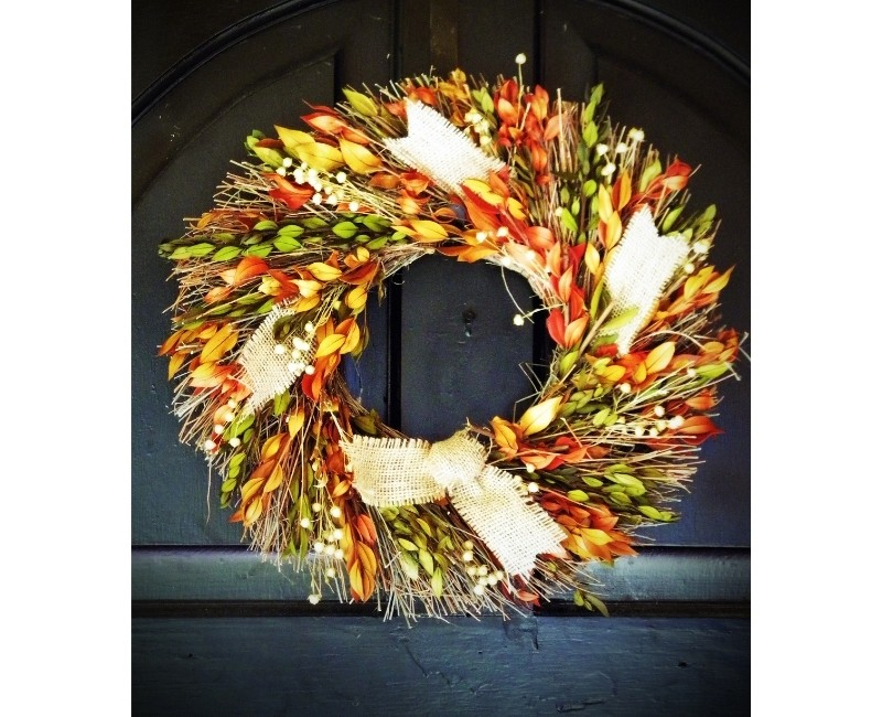 Autumn Wreath Green Yellow Orange