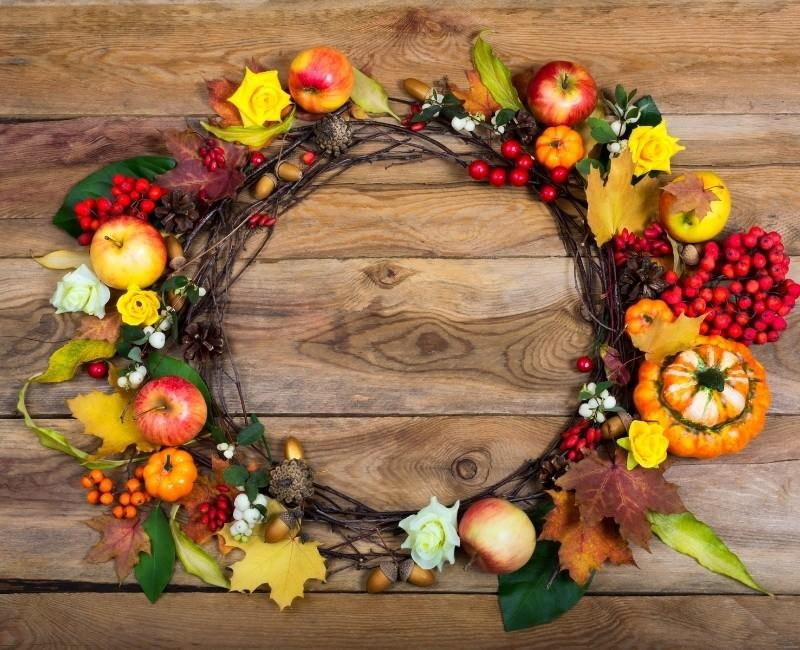 Fall Colors Apple, Berries, and Pumpkin Wreath Fall Wreath Idea